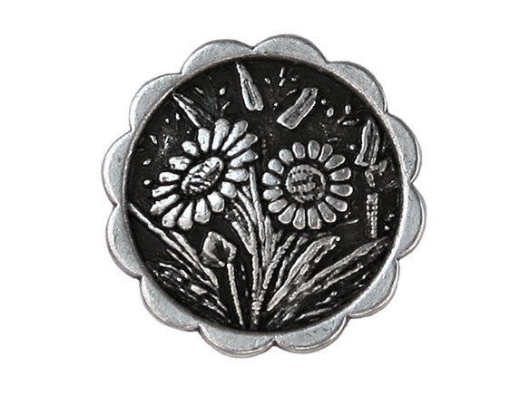Daisies 7/8 inch Metal Button Antique Silver Color
