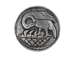 TreasureCast Pelican in Her Piety 7/8 inch Pewter Button Antique Silver Color