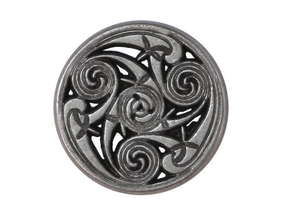 Celtic Swirls 7/8 inch Metal Button Antique Silver Color