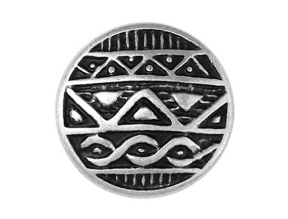 African Shield  7/8 inch Metal Button Antique Silver Color
