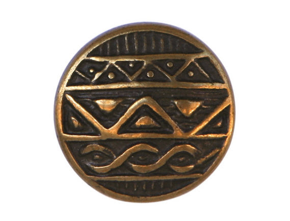 African Shield  7/8 inch Metal Button Antique Brass Color