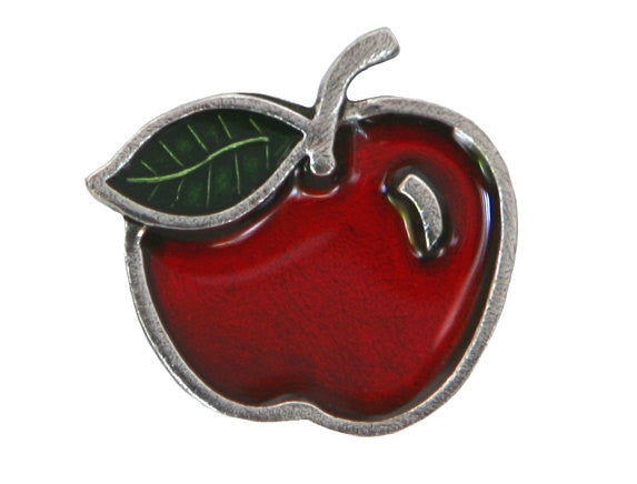 Danforth Red Apple 7/8 inch Pewter Button Antique Silver Color