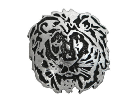 TreasureCast Lion<br> 1 inch Pewter Button<br> Antique Silver Color