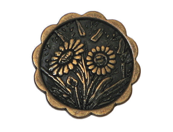 Daisies 3/4 inch Metal Button Antique Brass Color