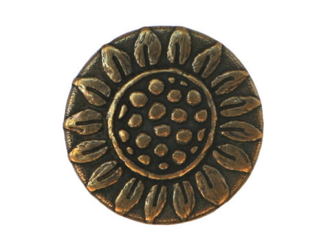 Rustic Sunflower 11/16 inch Metal Button Antique Brass Color