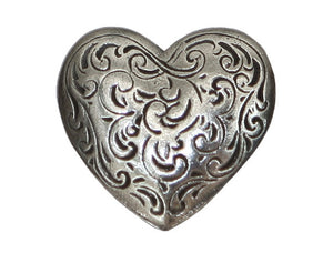 Danforth Florentine Heart 7/8 inch Pewter Button Antique Silver Color