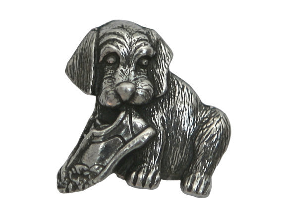 Danforth Rascal Puppy 3/4 inch Pewter Button Antique Silver Color