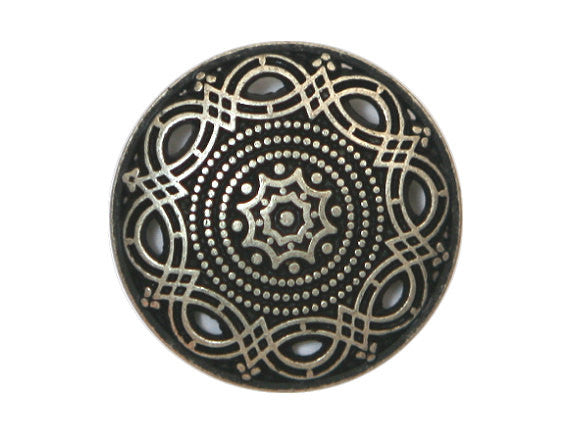 Arabesque<br>  11/16 inch Metal Button<br>  Antique Silver Color