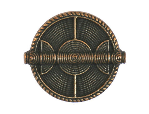 Wicker Shield 3/4 inch Metal Button Antique Brass Color