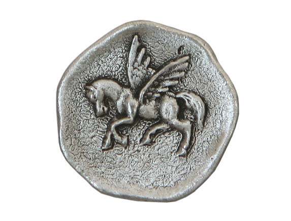 TreasureCast Pegasus Winged Horse<br> 7/8 inch Pewter Button<br> Antique Silver Color