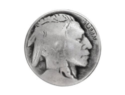 Indian Head<br>  3/4 inch Metal Button<br>  Antique Silver Color