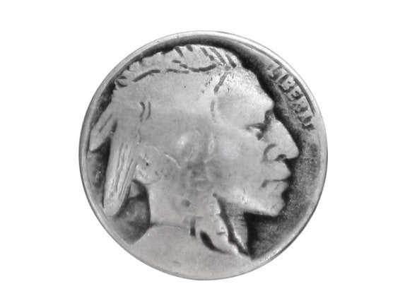 Indian Head 3/4 inch Metal Button Antique Silver Color
