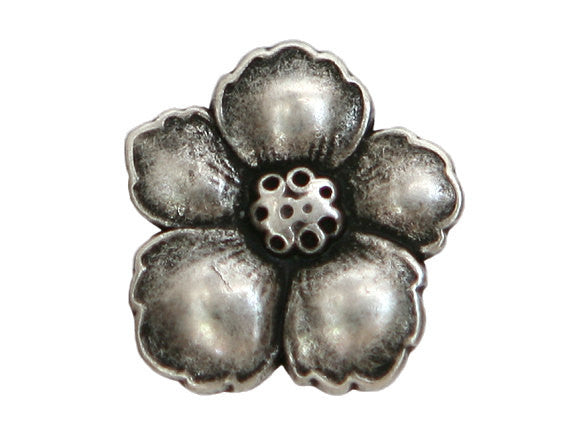 Hibiscus 3/4 inch Metal Button Antique Silver Color