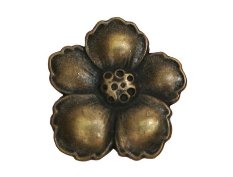Hibiscus 3/4 inch Metal Button Antique Brass Color