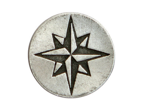 TreasureCast Compass Rose Star 1 inch Pewter Button Antique Silver Color