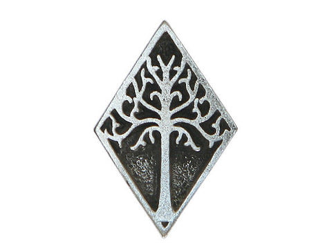 TreasureCast White Tree Of Gondor 1 inch Pewter Button Antique Silver Color