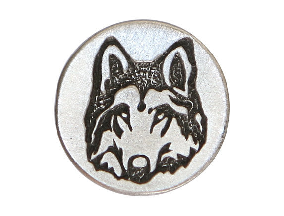 TreasureCast Woodland Wolf 1 inch Pewter Button Antique Silver Color
