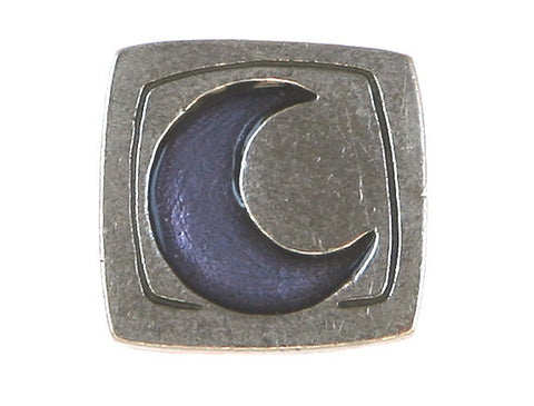 Danforth Blue Crescent Moon<br> 5/8 inch Pewter Button<br> Antique Silver Color