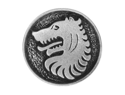 TreasureCast Medieval Wolf<br> 1 inch Pewter Button<br> Antique Silver Color Shank