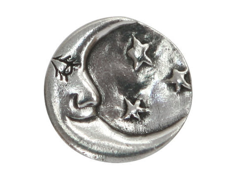 Danforth Man in the Moon 3/4 inch Pewter Button Antique Silver Color
