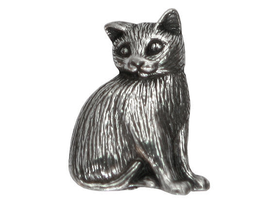 Danforth Toby Cat 7/8 inch Pewter Button Antique Silver Color