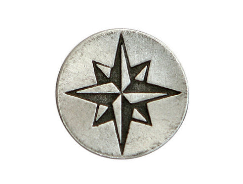 TreasureCast Compass Rose Star 5/8 inch Pewter Button Antique Silver Color   Silver Color
