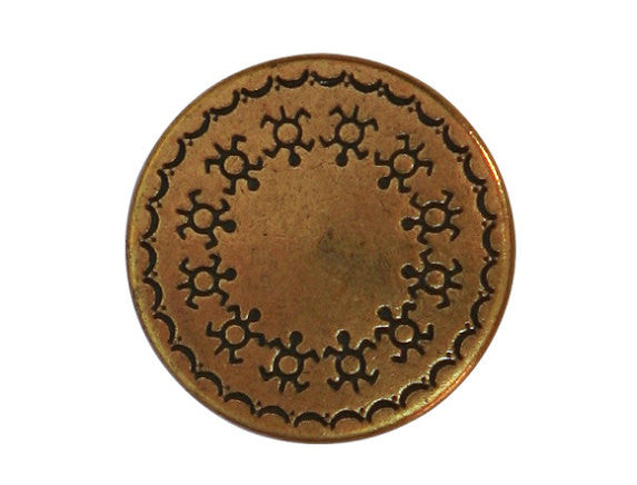 Turtle Shield 7/8 inch Metal Button Antique Brass Color