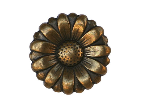 Morning Flower 9/16 inch Metal Button Antique Brass Color