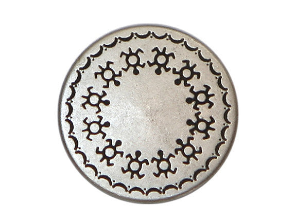 Turtle Shield 11/16 inch Metal Button Antique Silver Color