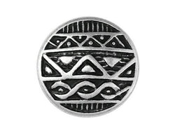 African Shield<br>  11/16 inch Metal Button<br>  Silver and Black Color