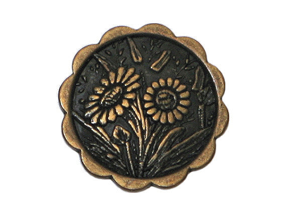Daisies 5/8 inch Metal Button Antique Brass Color