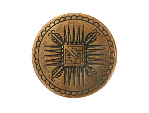 Mayan 11/16 inch Metal Button Antique Brass Color