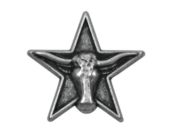 Texas Longhorn Star 1 inch Metal Button Antique Silver Color