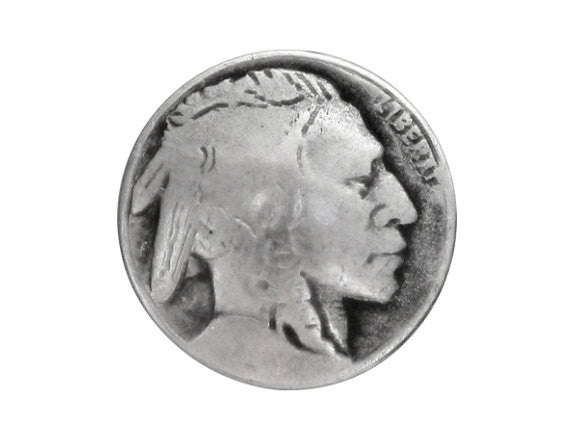 Indian Head 5/8 inch Metal Button Antique Silver Color
