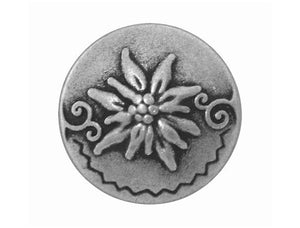 Round Edelweiss 7/8 inch Metal Button Antique Silver Color