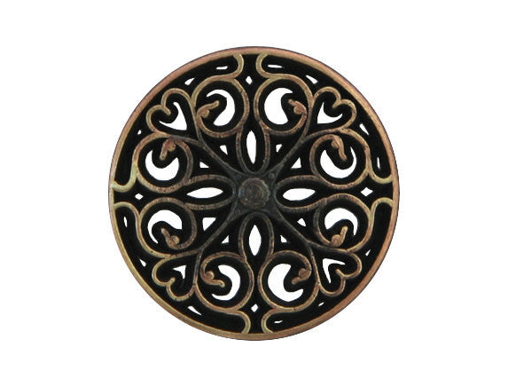 Filigree Heart 3/4 inch Metal Button Antique Brass Color