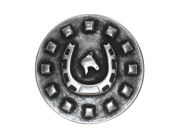 Horseshoe 9/16 inch Metal Button Antique Silver Color