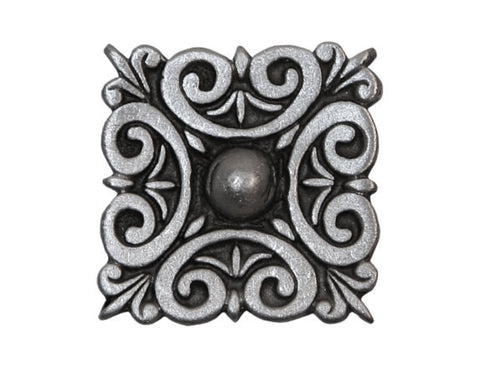 TreasureCast Square Scroll 7/8 inch Pewter Button Antique Silver Color