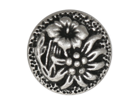 Blooms  11/16 inch Metal Button Antique Silver Color
