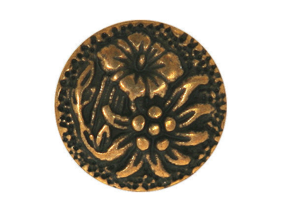 Blooms  11/16 inch Metal Button Antique Brass Color