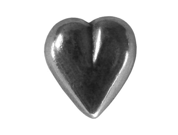 Danforth Small Heart 7/16 inch Pewter Button Antique Silver Color