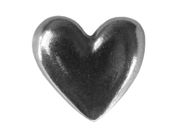 Danforth Large Heart 11/16 inch Pewter Button Antique Silver Color
