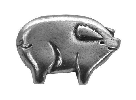 Danforth Pig 7/8 inch wide Pewter Button Antique Silver Color