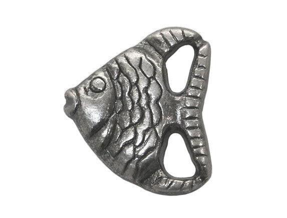 Angelfish<br>  3/4 inch Metal Button<br>  Antique Silver Color