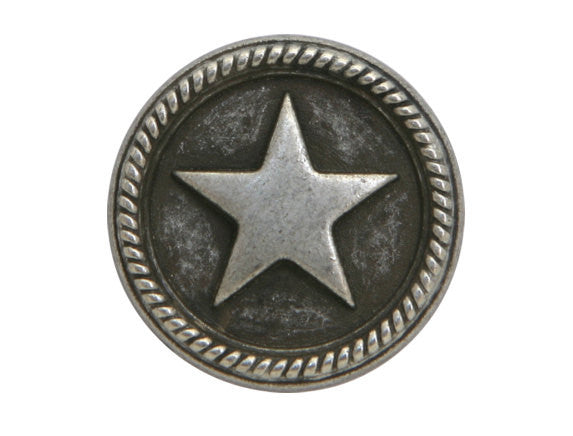 Roped Star 7/8 inch Metal Button Antique Silver Color