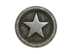 Roped Star<br>  11/16 inch Metal Button<br>  Antique Silver Color