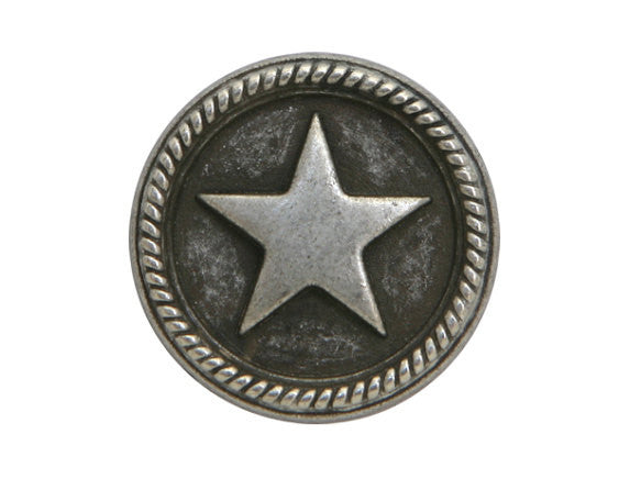 Roped Star 11/16 inch Metal Button Antique Silver Color