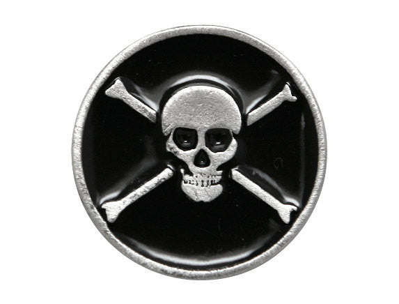 TreasureCast Pirate Skull and Bones 15/16 inch Pewter Button Silver / Black Color