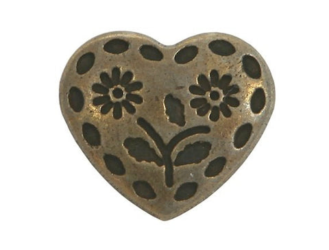 Stitched Heart 11/16 inch Metal Button Antique Brass Color