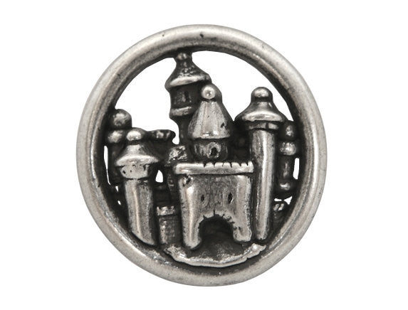 Nicky Epstein Carcassone Castle Large Metal Button Antique Silver Color